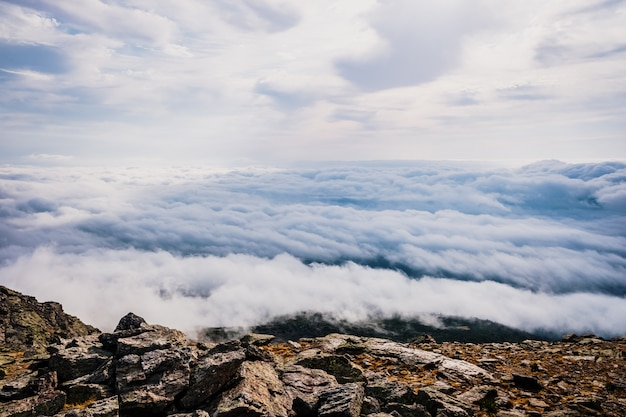 Beautiful view from the top of a mountain of a sea of clouds.
