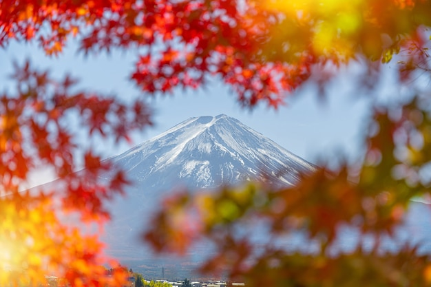 Beautiful view of fuji san mountain with colorful red maple leaves and winter morning fog
