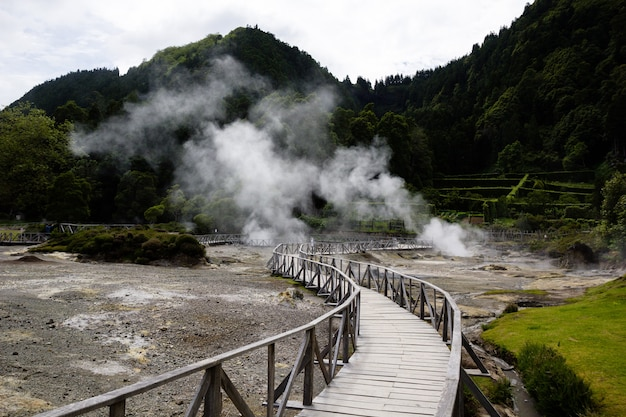 Beautiful view of geysers in azores, portugal