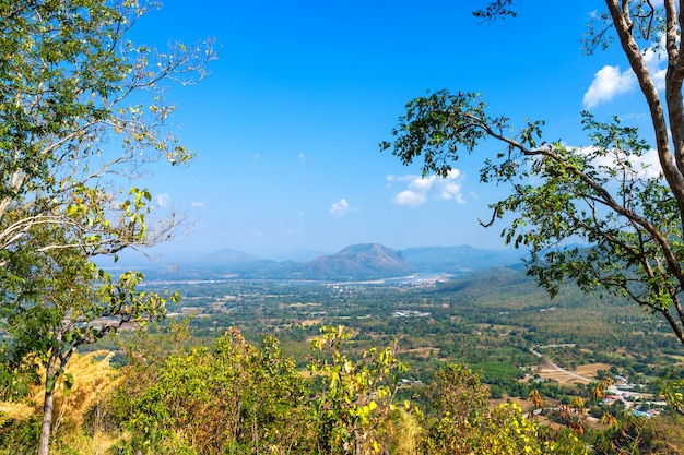 Beautiful view green forest mountain range phu thok park in loei province, thailand