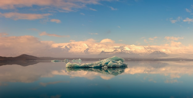 Beautiful view of iceberg at jokulsalon glacier lagoon in iceland