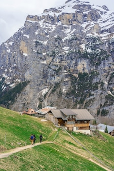 Beautiful view of landscape in the alps at gimmelwald