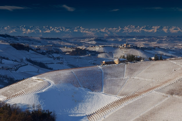 Beautiful view of langhe piedmont covered with snow