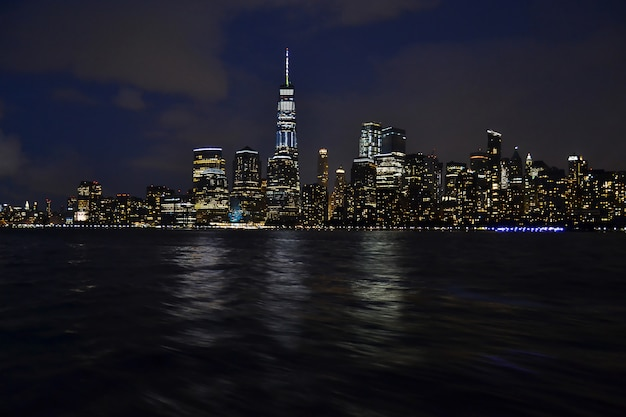 Beautiful view of liberty state park jersey in usa with a dark blue sky during night time