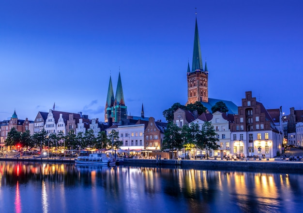 Beautiful view of lubeck city at night