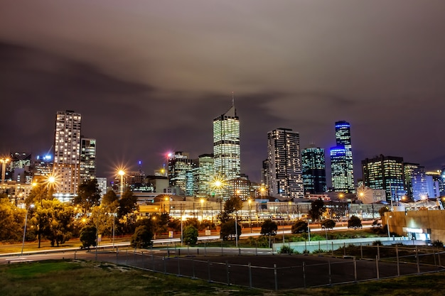 A beautiful view of melbourne city  with a cloudy sky and twilight in melbourne australia.
