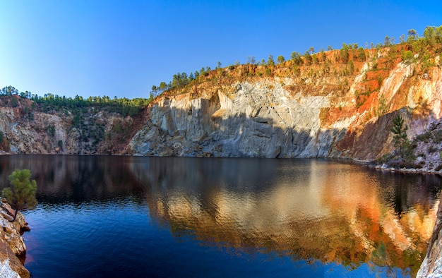 Beautiful view of a mining acidic lake located in rio tinto, spain.