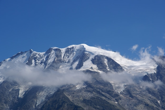 Beautiful view of mont blanc covered with white clouds in france