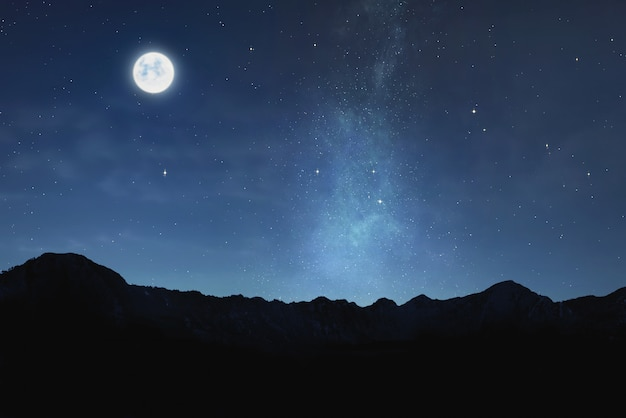Beautiful view of moonlight with shiny stars in the sky
