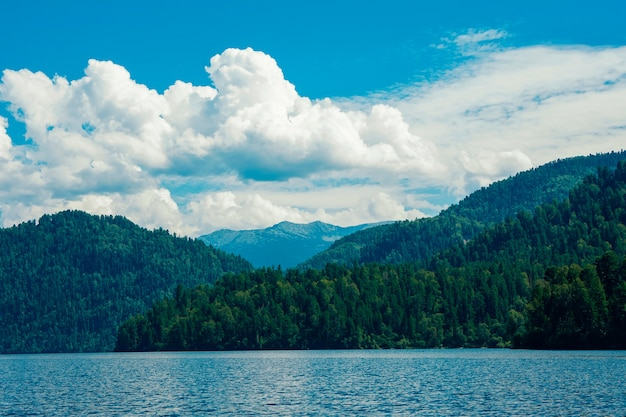 Beautiful view of the mountain lake and mountains in summer