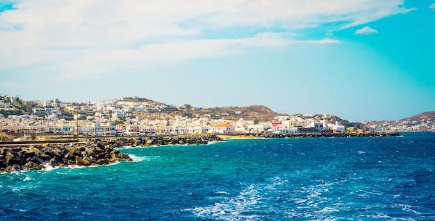 Beautiful view to mykonos enbankment from seaside