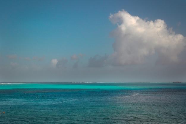 Bella vista sull'oceano con un cielo blu nuvoloso