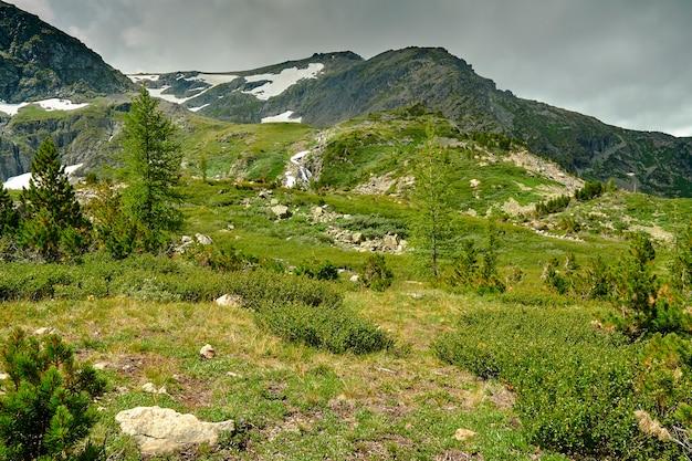 Прекрасный вид на заснеженные высокогорные вершины. зеленые альпийские луга на фоне заснеженных горных вершин. горный пейзаж