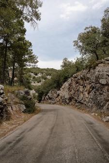 道路と岩だらけの丘、シエラデカゾルラ、ハエン、エスパーニャの暗い日に木々の美しい景色