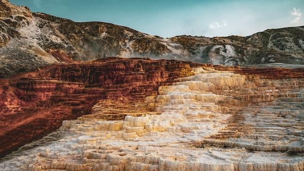 青空の下、山々に囲まれた古い岩の層が美しい