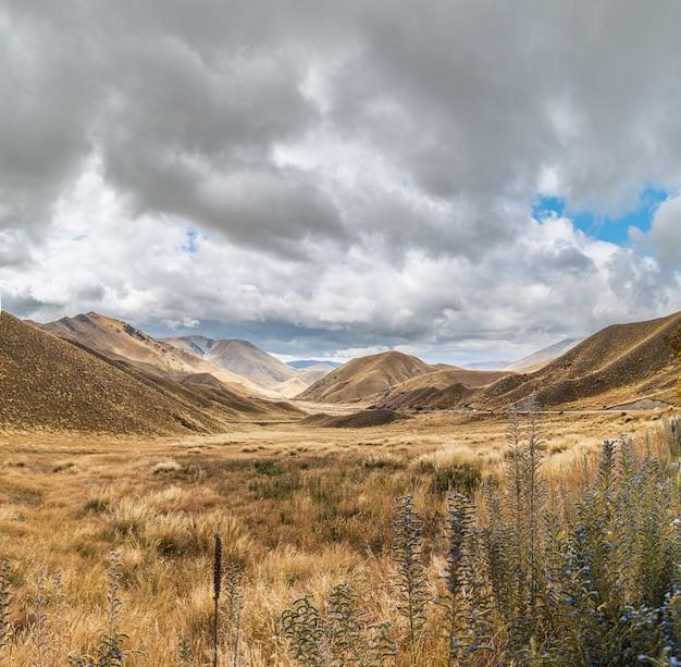 뉴질랜드 남섬의 lindis 패스의 아름다운 전망