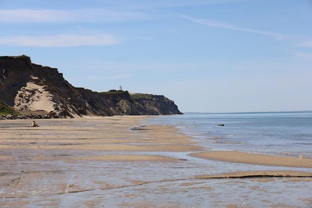Прекрасный вид на побережье северного моря на пляже лёнструп в дневное время