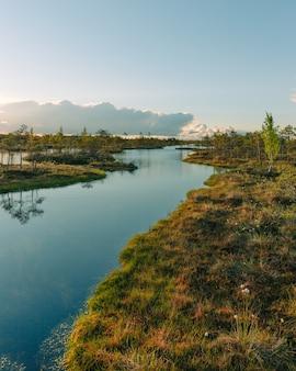 Прекрасный вид на реку и зеленую природу под голубым небом и восходом солнца.