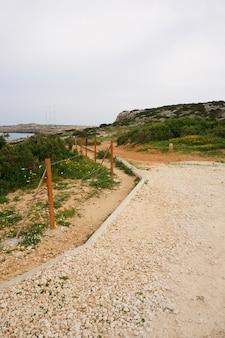 Прекрасный вид на дорогу у океана в окружении травы и камней под голубым небом