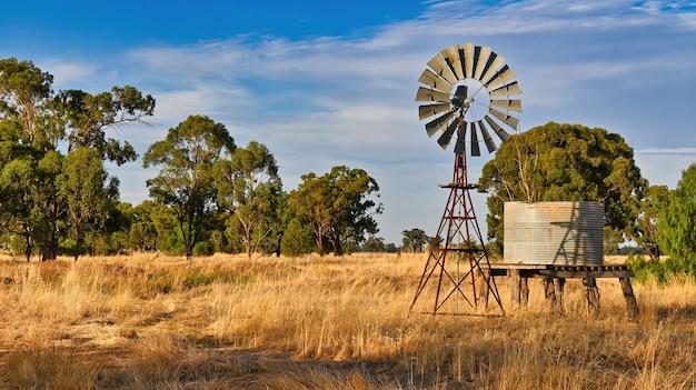황금 밀밭에 있는 풍차와 물 탱크의 아름다운 전망