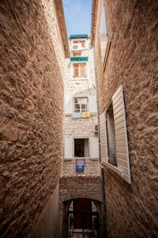 Beautiful view of old narrow street at mediterranean city