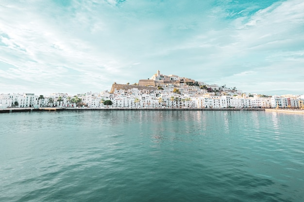 Beautiful view of an old town of ibiza