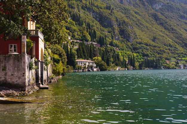 Beautiful view of old villas on the como lake in italy