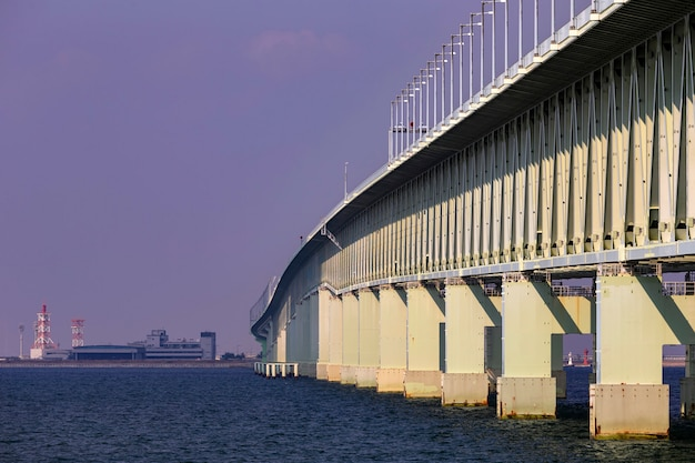 Beautiful view of osaka bridge across to the airport