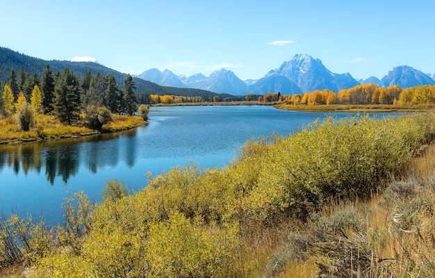 Beautiful view of oxbow bend turn out in grand teton national park