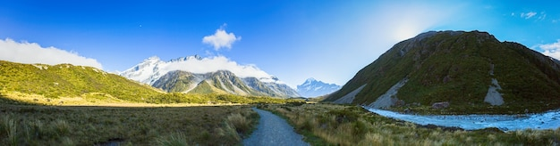 Beautiful view panorama of aoraki mount cook national park at south island new zealand