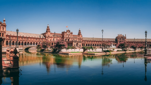 Beautiful view of the plaza de espana in seville in spain