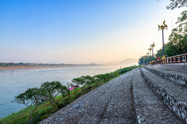 Beautiful view of riverside the mekong river at sunrise in the morning at chiang khan in loei province, thailand