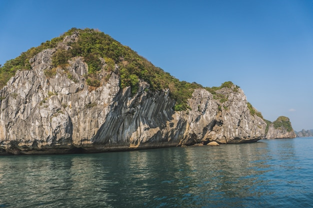 Beautiful view of rock iisland in halong bay in vietnam