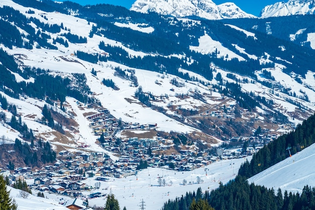 Beautiful view of the saalbach ski resort during winter time