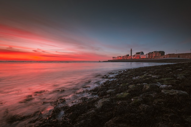 Beautiful view of the sea under the beautiful colorful sky captured in vlissingen, netherlands