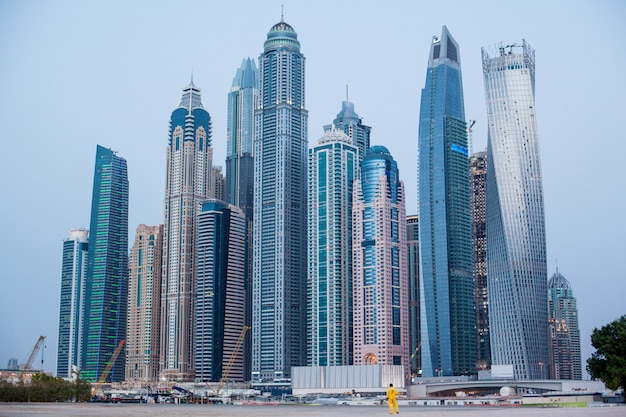 Beautiful view of the skyscrapers in dubai marina.