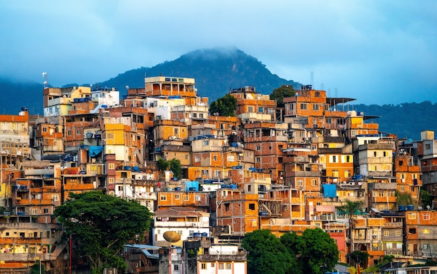 Beautiful view of a small town in the mountains during sunset in brazil