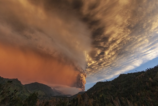 Beautiful view of the smoke coming from the puyehue volcano located in chile