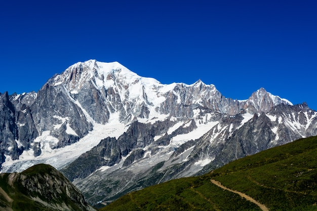 Beautiful view of snow covered mountain tops of mont blanc in italy