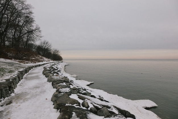 Beautiful view of the snow and trees in the shore near the calm lake