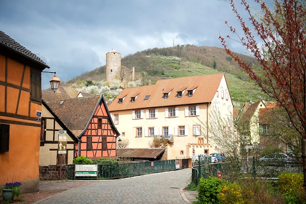 Beautiful view on street with historical half-timbered houses in alsace