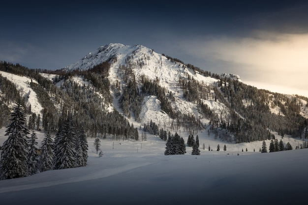 Beautiful view of sunset at austrian alps covered by snow