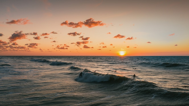 Beautiful view of the the sunset and the ocean in domburg, netherlands