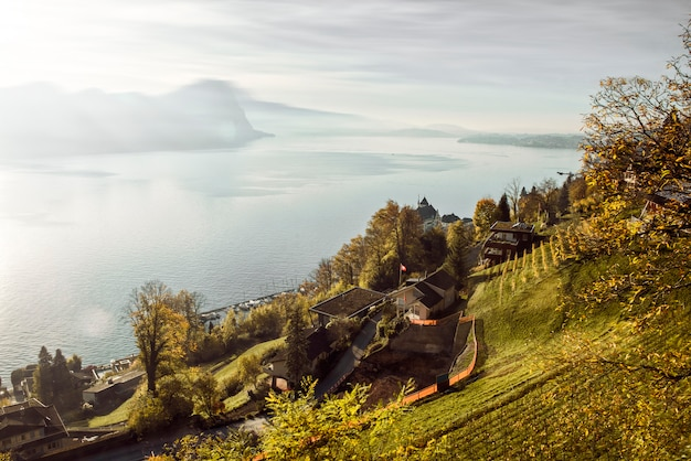 Beautiful view of swiss alps mountain in rigi mountain and countryside village