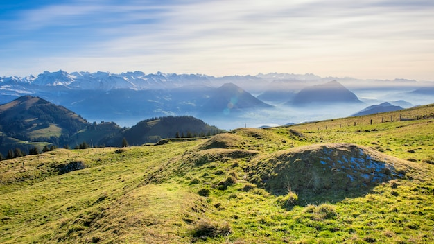 Beautiful view of swiss alps mountain in rigi mountain