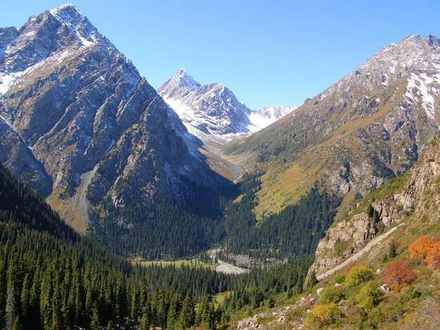 Beautiful view on tien-shan mountains in september