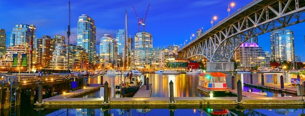 Beautiful view of vancouver bc with harbor at sunsetcanada