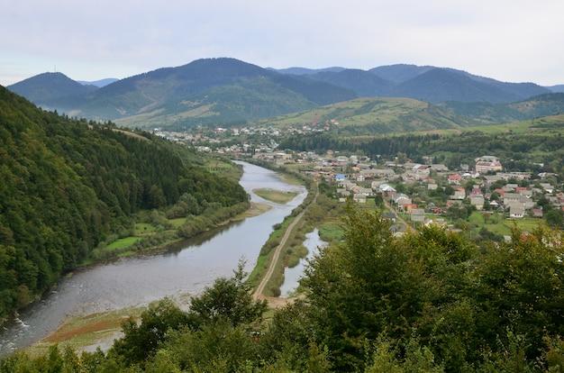 A beautiful view of the village of mezhgorye, carpathian region.