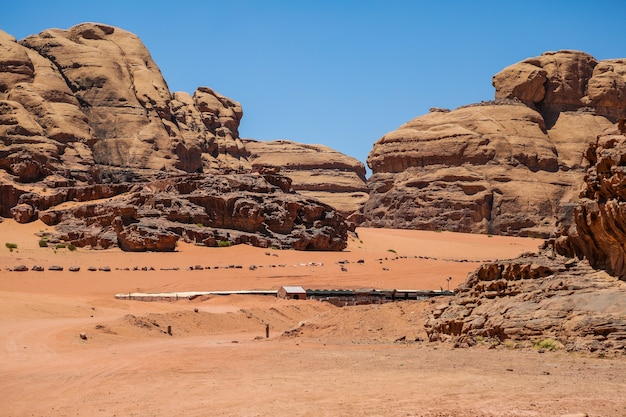 Beautiful view of wadi rum desert in hashemite kingdom of jordan, also known as the valley of moon.