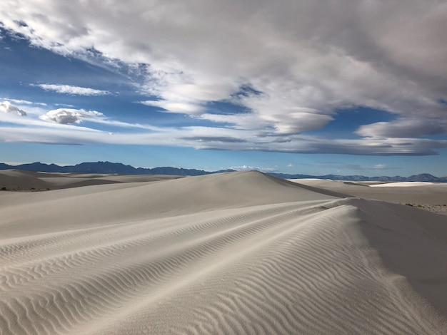 Beautiful view of the wind-swept sand dunes in the desert in new mexico - perfect for background